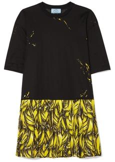 Prada Pleated Printed Crepe De Chine Mini Dress