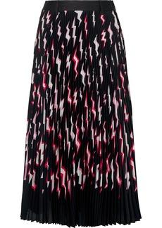 Prada Pleated Printed Satin Midi Skirt