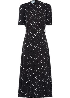 Prada pleated star-print mid-length dress