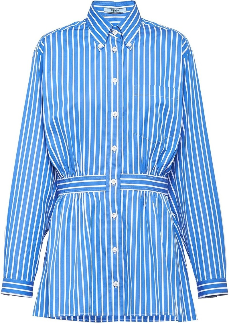 Prada striped belted shirt