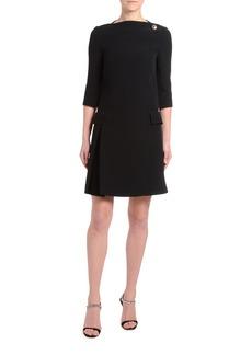 Prada 1/2-Sleeve Crepe Boat-Neck Dress