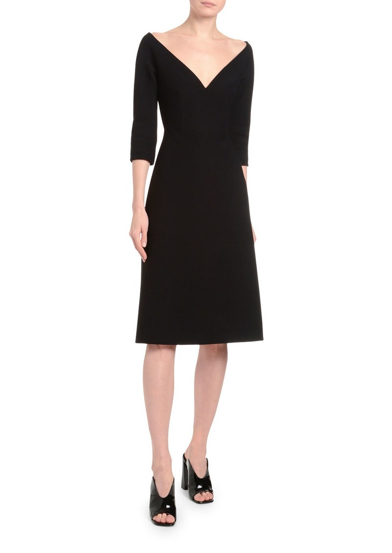 Prada 1/2-Sleeve Off-the-Shoulder V-Neck Dress