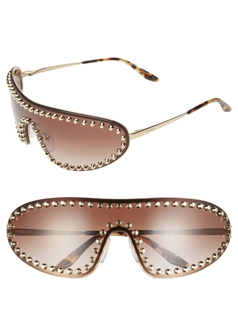 Prada 170mm Studded Gradient Wraparound Shield Sunglasses