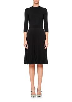 Prada 3/4-Sleeve Crewneck Dress w/ Pleated Skirt