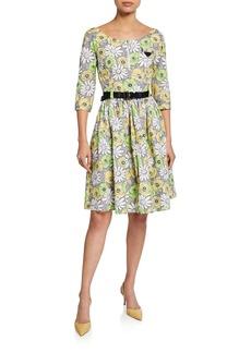 Prada 3/4-Sleeve Floral-Print Dress