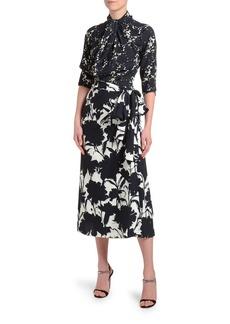 Prada 3/4-Sleeve Floral Shadow Twill Dress