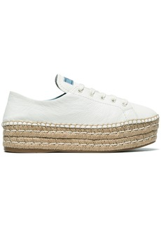 Prada White 40 Leather flatform espadrilles