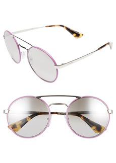 Prada 51mm Mirrored Round Sunglasses