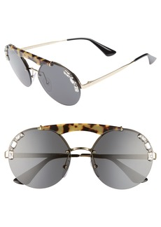 Prada 52mm Embellished Round Rimless Sunglasses