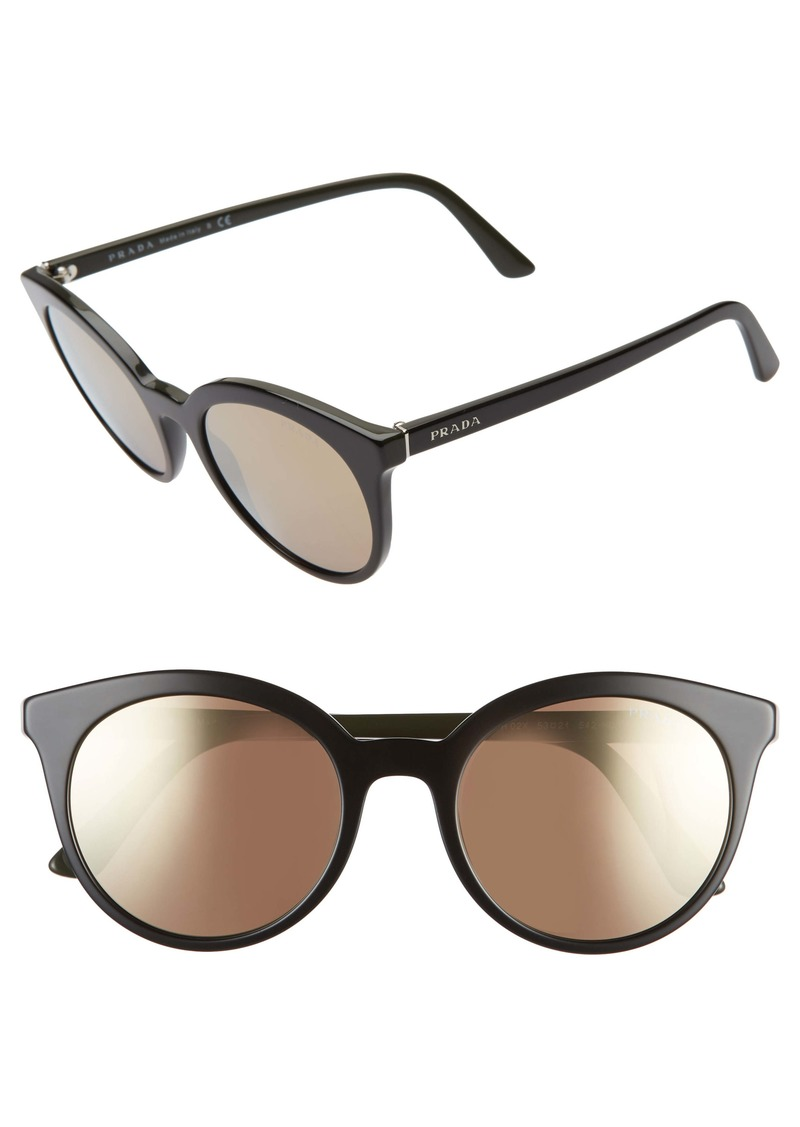 Prada 53mm Round Cat Eye Sunglasses