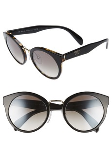 Prada 53mm Round Gradient Mirror Sunglasses