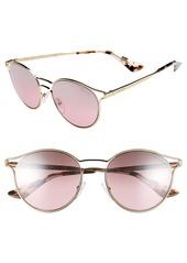 Prada 53mm Round Mirrored Sunglasses