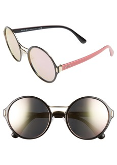 Prada 54mm Mirrored Round Sunglasses