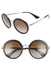 Prada 54mm Polarized Round Sunglasses