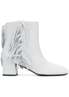 Prada White Fringed 55 leather boots