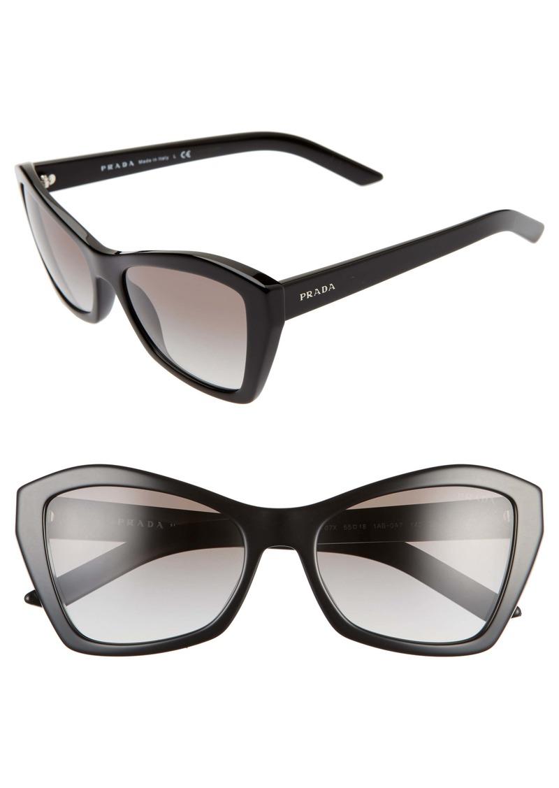 Prada 55mm Gradient Butterfly Sunglasses