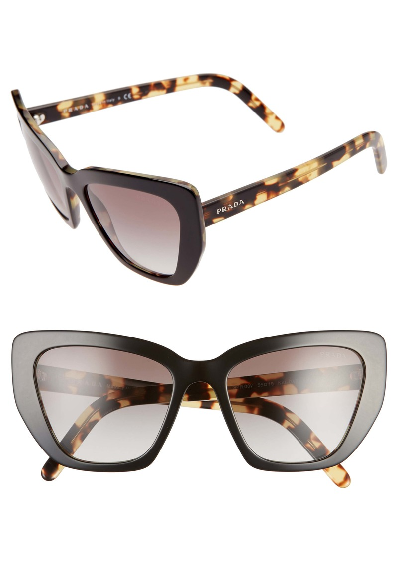 Prada 55mm Gradient Cat Eye Sunglasses