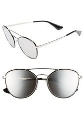 Prada 55mm Mirrored Aviator Sunglasses