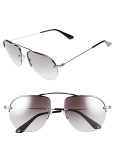 Prada 55mm Mirrored Semi Rimless Sunglasses