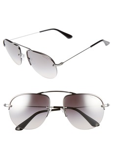 Prada 55mm Mirrored Semi Rimless Sunglasses