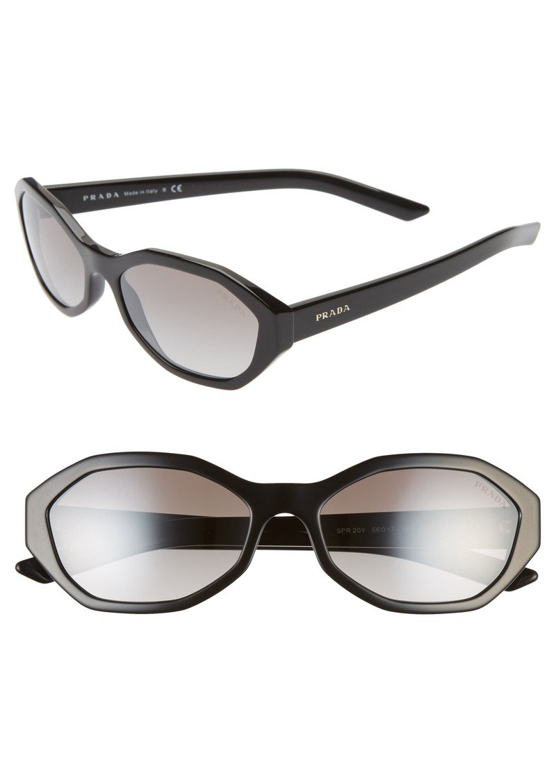 Prada 56mm Gradient Geometric Sunglasses