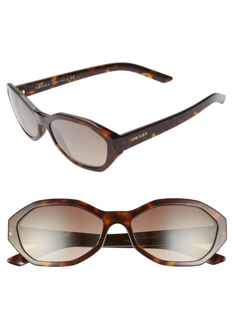 Prada 56mm Gradient Geometric Sunglasses