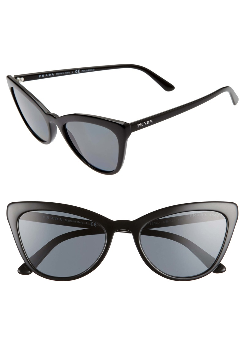 Prada 56mm Polarized Cat Eye Sunglasses
