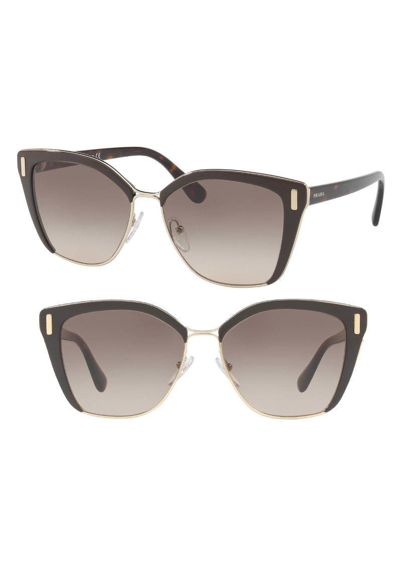 Prada 57mm Gradient Geometric Sunglasses