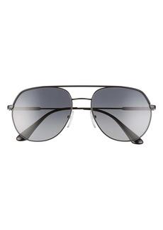 Prada 57mm Irregular Polarized Gradient Aviator Sunglasses