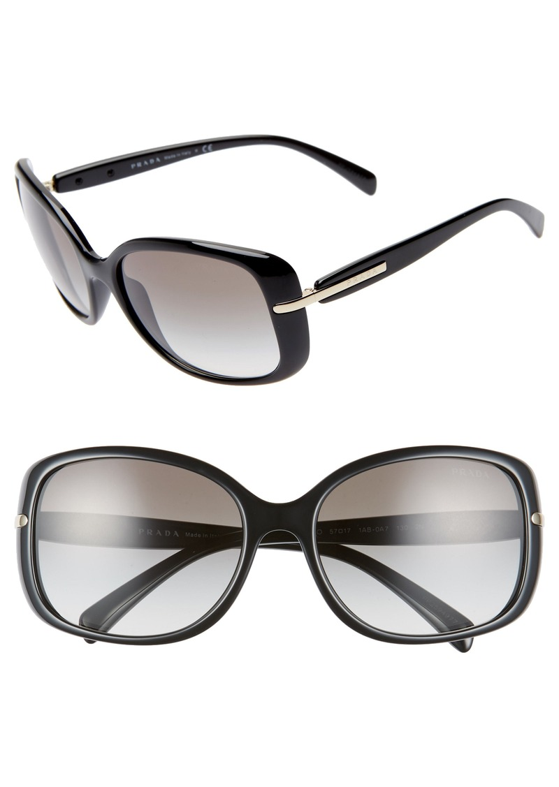 Prada 57mm Rectangular Sunglasses