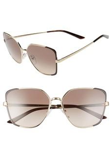 Prada 59mm Gradient Rectangular Sunglasses