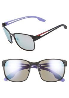 Prada 59mm Mirrored Square Sunglasses