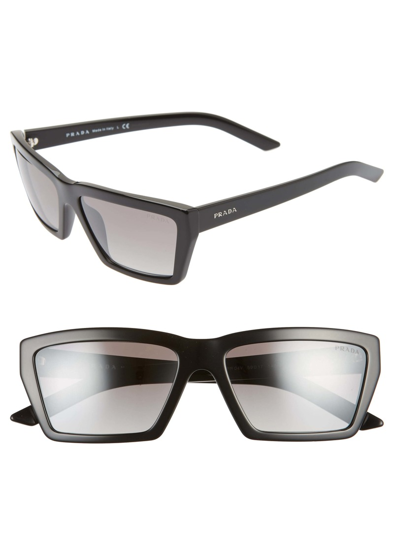Prada 59mm Rectangle Sunglasses