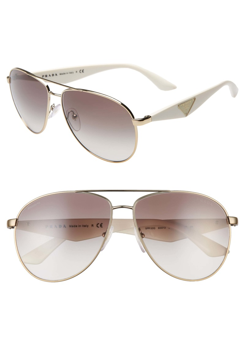 Prada 60mm Aviator Sunglasses
