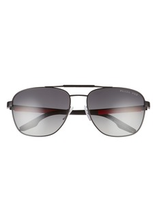 Prada 60mm Polarized Aviator Sunglasses