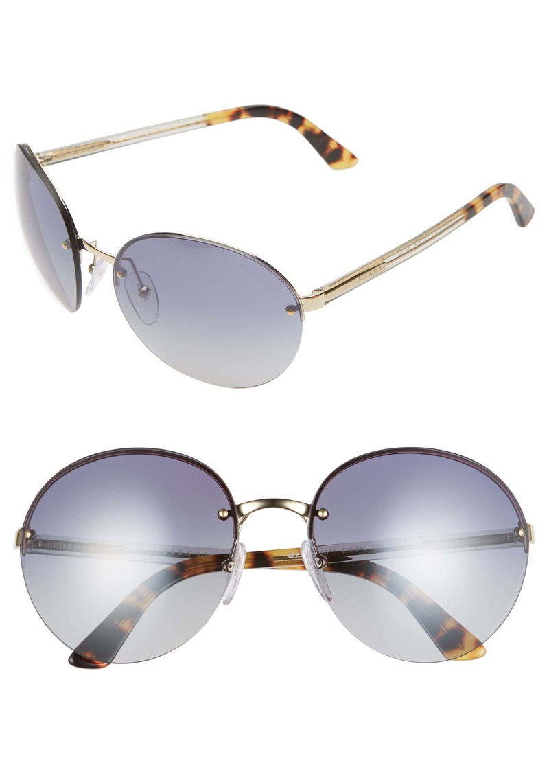Prada 61mm Rimless Round Sunglasses