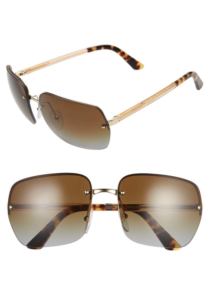 Prada 62mm Oversize Polarized Aviator Sunglasses