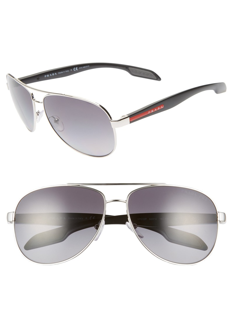 Prada 62mm Oversize Polarized Aviator Sunglasses