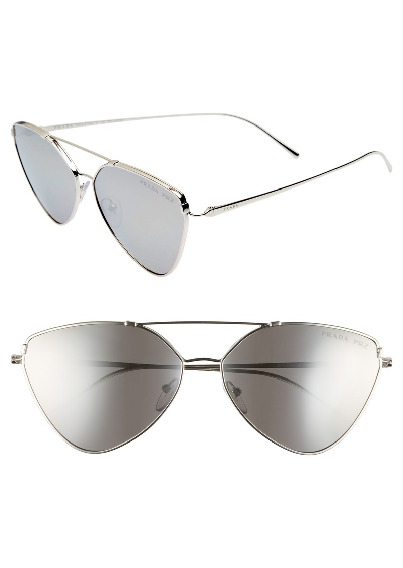 Prada 62mm Polarized Oversize Aviator Sunglasses