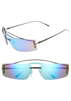 Prada 73mm Mirrored Wrap Sunglasses