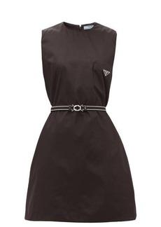 Prada A-line logo-patch nylon dress