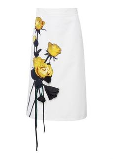 Prada Appliquéd Floral-Print Cotton-Crepe Midi Skirt