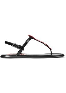 Prada Appliquéd Patent-leather Sandals