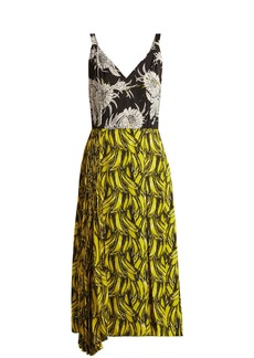 Prada Banana and Dahlia-print sleeveless dress
