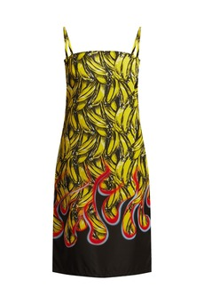 Prada Banana and flame-print gabardine dress