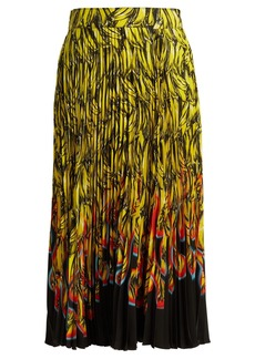 Prada Banana and flame-print pleated midi skirt