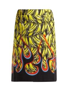 Prada Banana and flame-print wrap cotton skirt