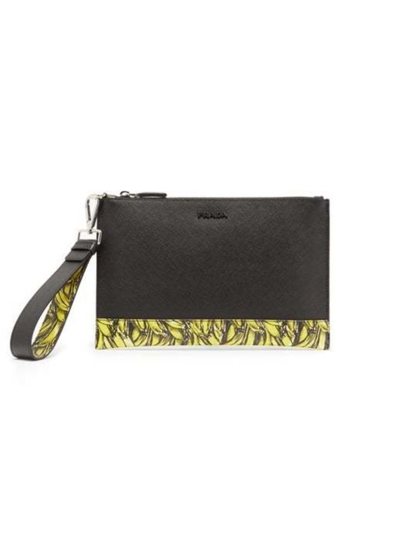 Prada Banana-print saffiano-leather pouch