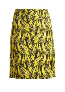 Prada Banana-print wrap cotton skirt