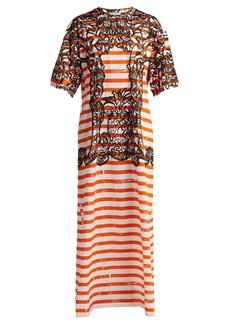 Prada Baroque-print striped cotton T-shirt dress